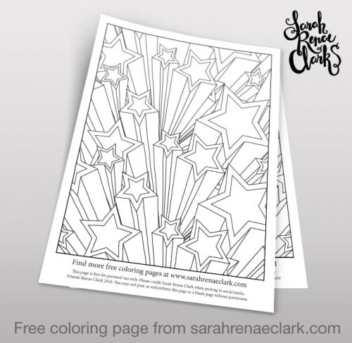 3d Stars free printable adult coloring page | find more free coloring pages for kids and grown ups at www.sarahrenaeclark.com