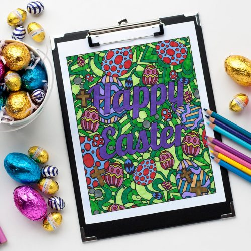 Enjoy this FREE coloring page for Easter! Visit sarahrenaeclark.com for more Easter printables, free coloring pages and craft templates!