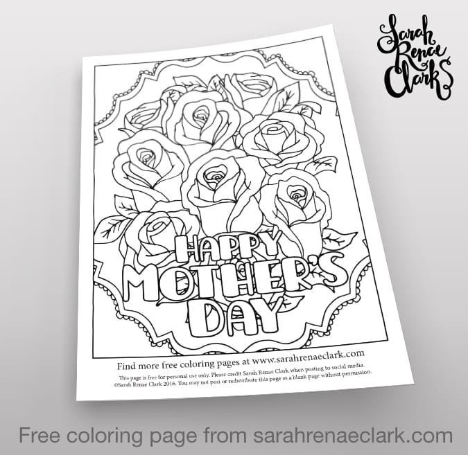 Happy Mother's Day free coloring page | Find more free adult coloring pages and Mother's Day printables at www.sarahrenaeclark.com
