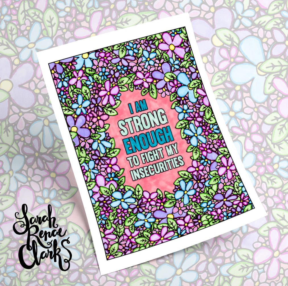 Beautiful finished coloring page from A Year of Coloring Affirmations for New Mothers. Colored by Amber Brooks | www.sarahrenaeclark.com