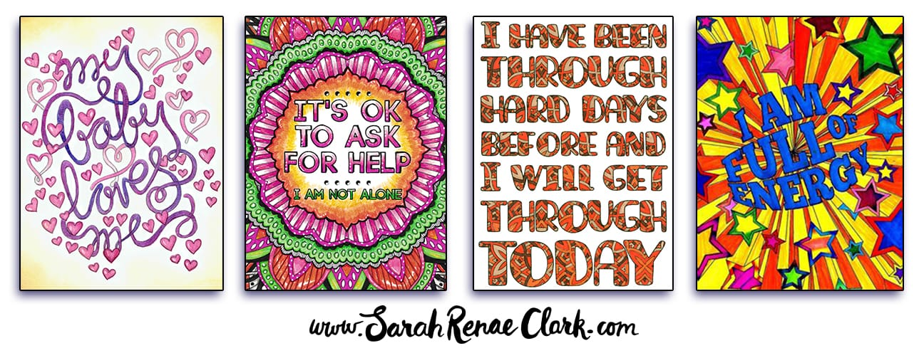 "Colored Pages from ""A Year of Coloring Affirmations for New Mothers"""