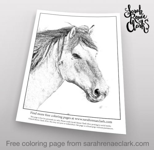 Grayscale Horse - Free Adult Coloring Page