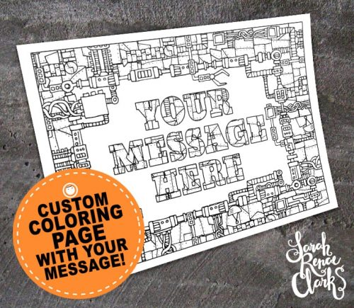 custom coloring page - mechanical steampunk personalized page