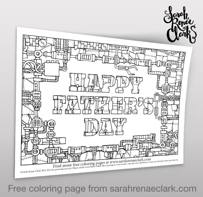 Happy Father\'s Day - Adult Coloring Page - Sarah Renae Clark ...