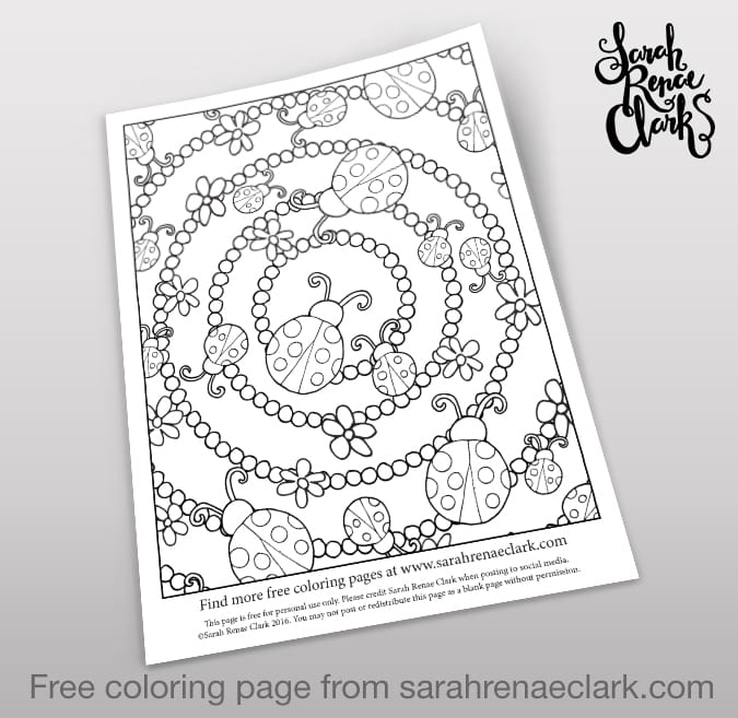 Ladybugs free coloring page | Get more free coloring pages for adults and kids at www.sarahrenaeclark.com
