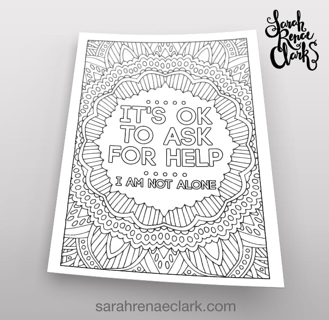 It's OK to ask for help - coloring page