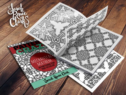 Pattern Crazy - Mechanical Mayhem - robot steampunk coloring book