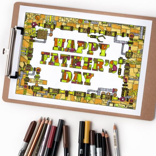 Happy Fathers Day free coloring page | Steampunk mechanical style coloring page for Father's Day. Find more free printables and coloring pages at www.sarahrenaeclark.com