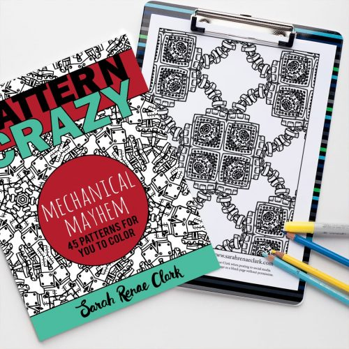 Pattern Crazy Mechanical Mayhem adult coloring book