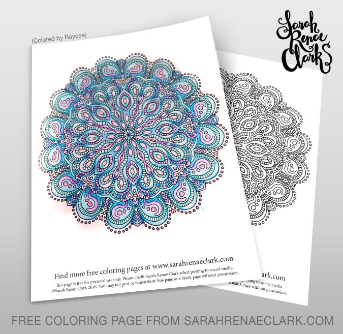 Free adult coloring page mandala from the Kaleidomania adult coloring book by Sarah Renae Clark | www.sarahrenaeclark.com