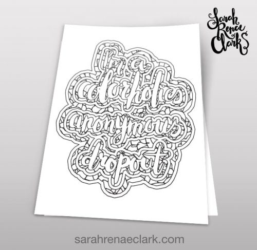 Colorholics anonymous dropout coloring page