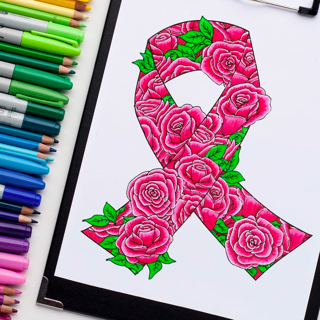 Cancer awareness ribbon coloring page