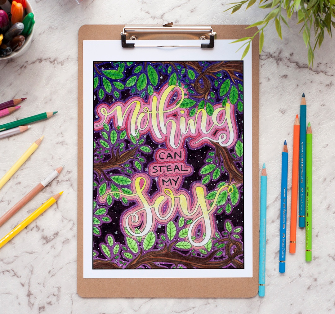 Nothing can steal my joy - adult coloring page by Debbie Schroeder