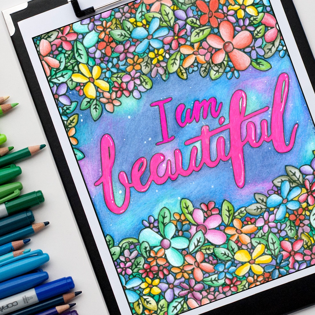 I am beautiful - adult coloring page. Colored by Michelle HH