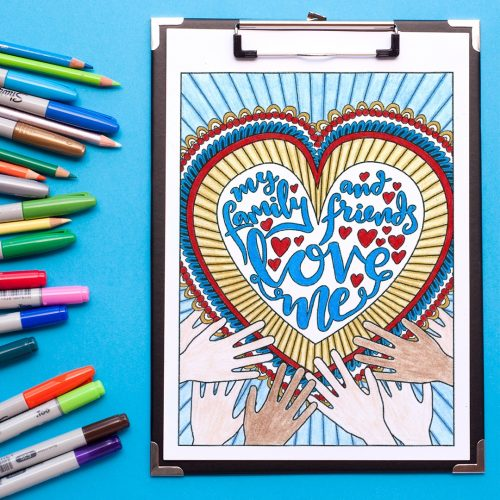 Encouraging adult coloring page. Colored by Emma Turnbull