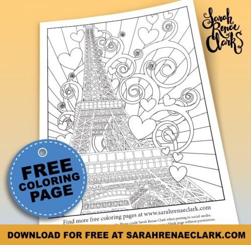 Paris Eiffel Tower Free Adult Coloring Page   Find more free coloring pages for grown ups, adult coloring books and printables at www.sarahrenaeclark.com