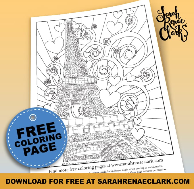 Paris Eiffel Tower Free Adult Coloring Page
