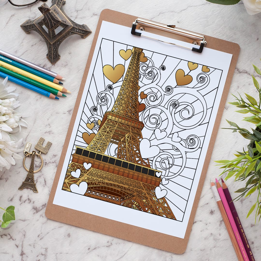 Free coloring pages eiffel tower - Paris Eiffel Tower Free Adult Coloring Page Find More Free Coloring Pages For Grown Ups