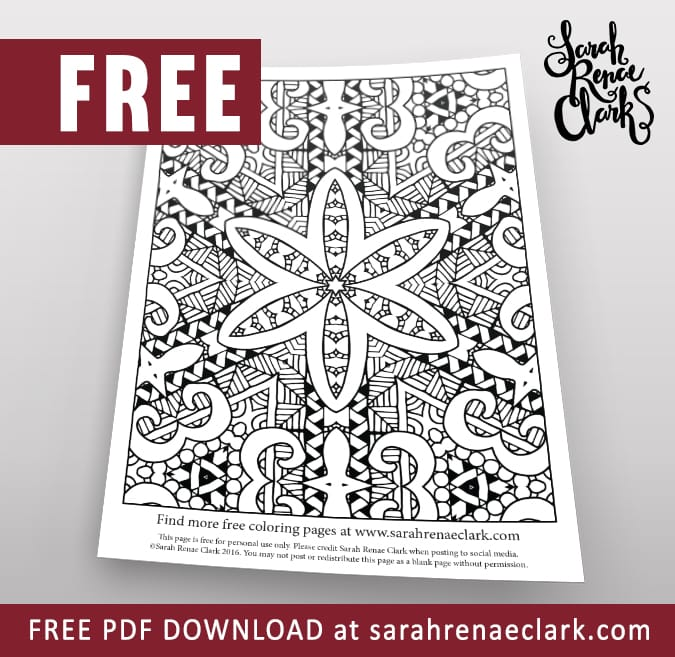 abstract floral pattern coloring page