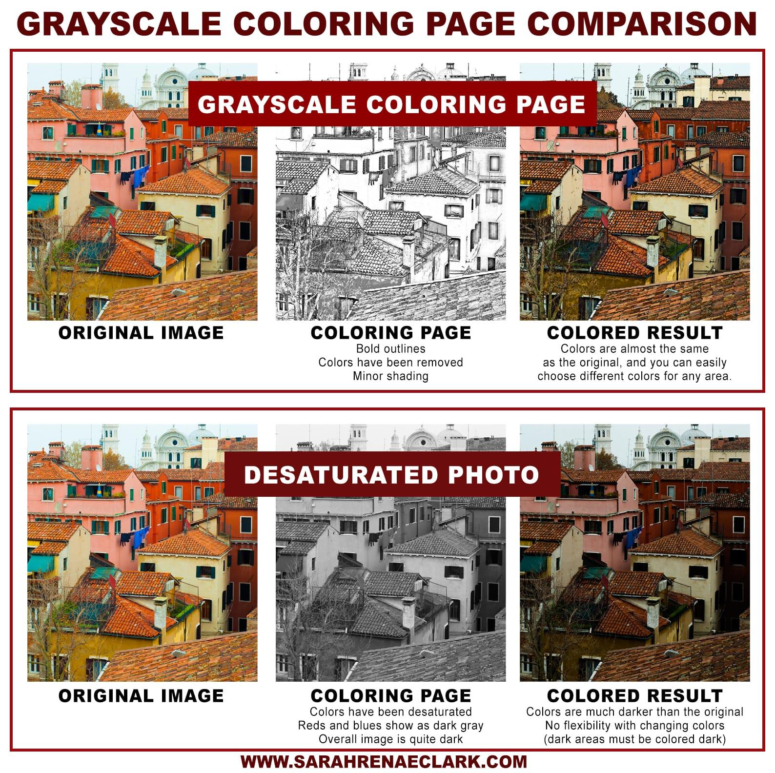 Grayscale coloring page comparison