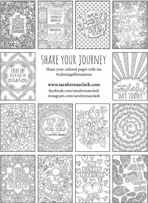 "A look inside ""A Year of Affirmations for New Mothers"" adult coloring book by Sarah Renae Clark"