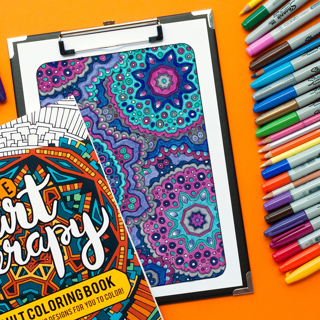 Adult coloring page from 'Ultimate Art Therapy' colored by Linda Franklin