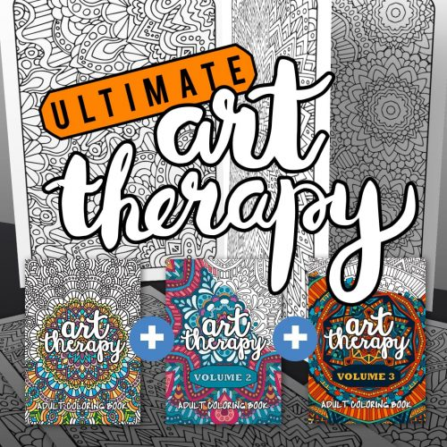 Ultimate Art Therapy adult coloring books - printable coloring book PDF bundle
