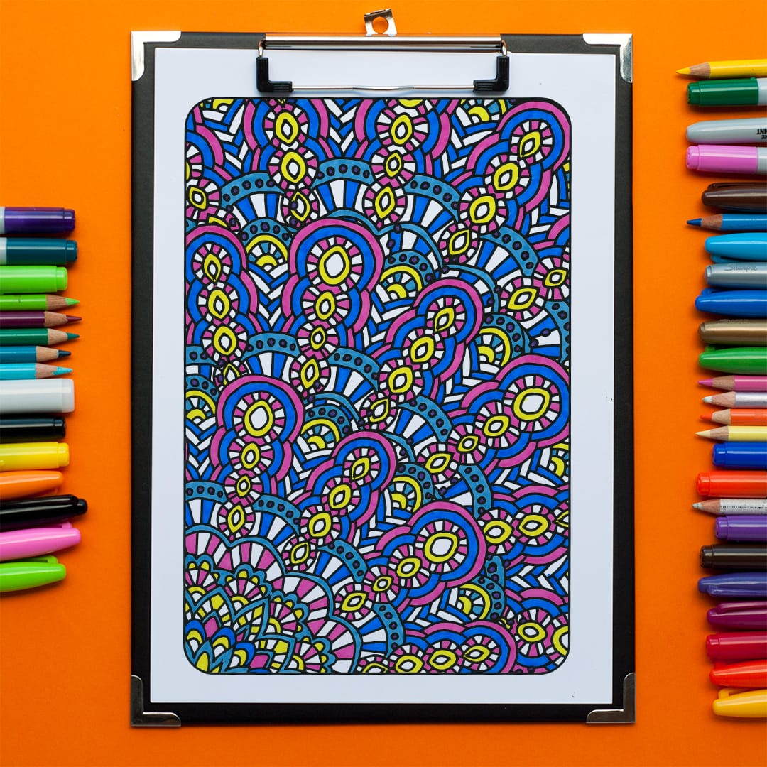 Adult coloring page from 'Ultimate Art Therapy' colored by Emma Turnbull