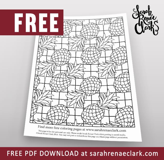 If you like Pina Coladas, you'll love this pineapple patterned free coloring page | Get more free adult coloring pages at www.sarahrenaeclark.com