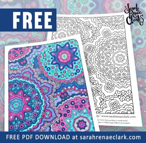 "Free grown-up coloring page from the ""Ultimate Art Therapy"" adult coloring book by Sarah Renae Clark 