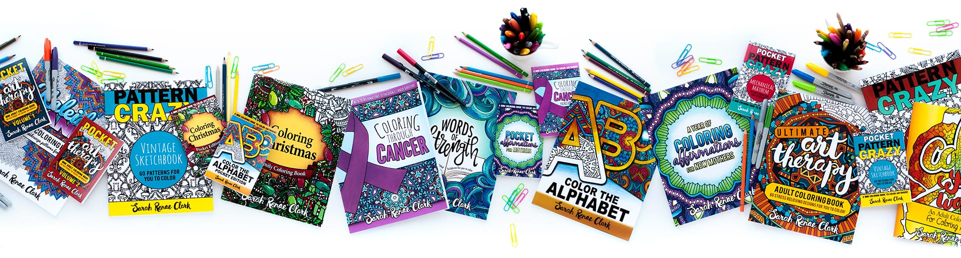 Adult coloring books by Sarah Renae Clark on Etsy