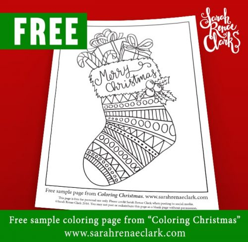 "Free adult coloring page from ""Coloring Christmas"" coloring book by Sarah Renae Clark www.sarahrenaeclark.com"