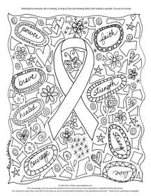 Free Cancer Awareness Coloring Page By Kim A. Flodin