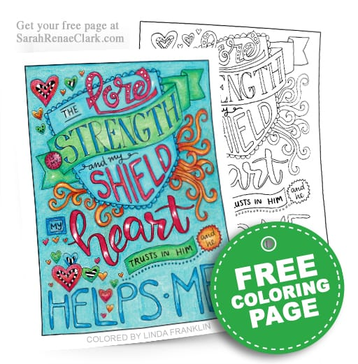 "Get this free scripture coloring page from Sarah Renae Clark's new faith-based coloring book ""Words of Strength"" 