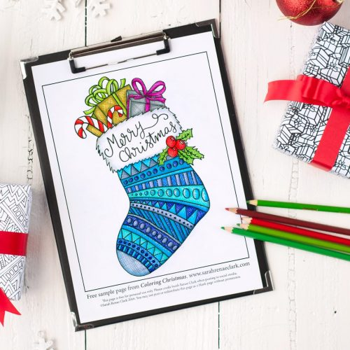 "Get this free Christmas coloring page from the ""Coloring Christmas"" family coloring book. Find more Christmas printables and coloring pages at www.sarahrenaeclark.com"
