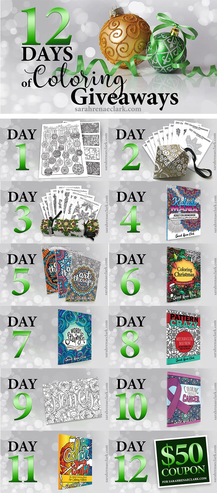 12 Days of Coloring Giveaways 2016 - Enter to win a new prize every day at sarahrenaeclark.com