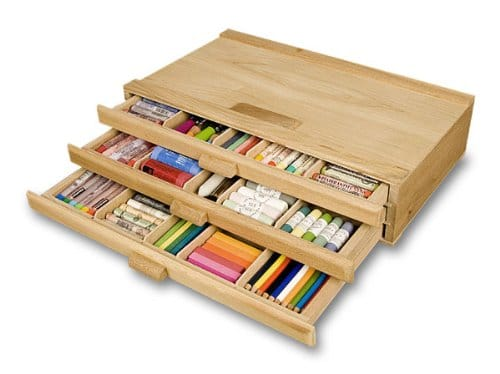 3 Drawer Wooden Storage - 20 Clever Ways to Organize Your Coloring Supplies
