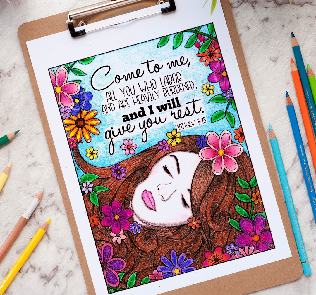 Scripture coloring page - colored by Anna Hurtt