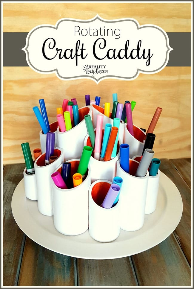 DIY Rotating Craft Caddy - 20 Clever Ways to Organize Your Coloring Supplies