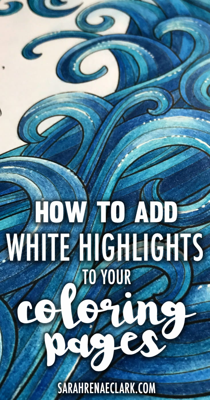 This is a super easy technique using colored pencils (or markers) and a white gel pen to create amazing highlights on any finished adult coloring page. See the full tutorial at: https://sarahrenaeclark.com/how-to-add-white-highlights-to-your-coloring-pages/