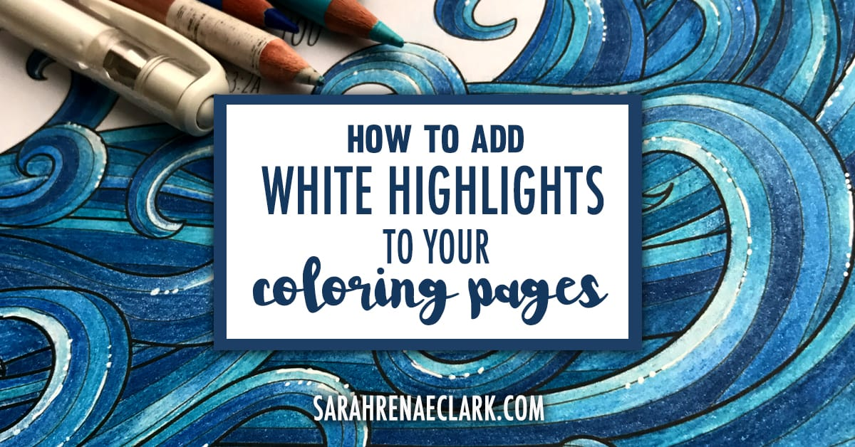 This is a super easy technique using colored pencils (or markers) and a white gel pen to create amazing highlights on any finished adult coloring page. See the full tutorial at: https://sarahrenaeclark.com/2016/how-to-add-white-highlights-to-your-coloring-pages/
