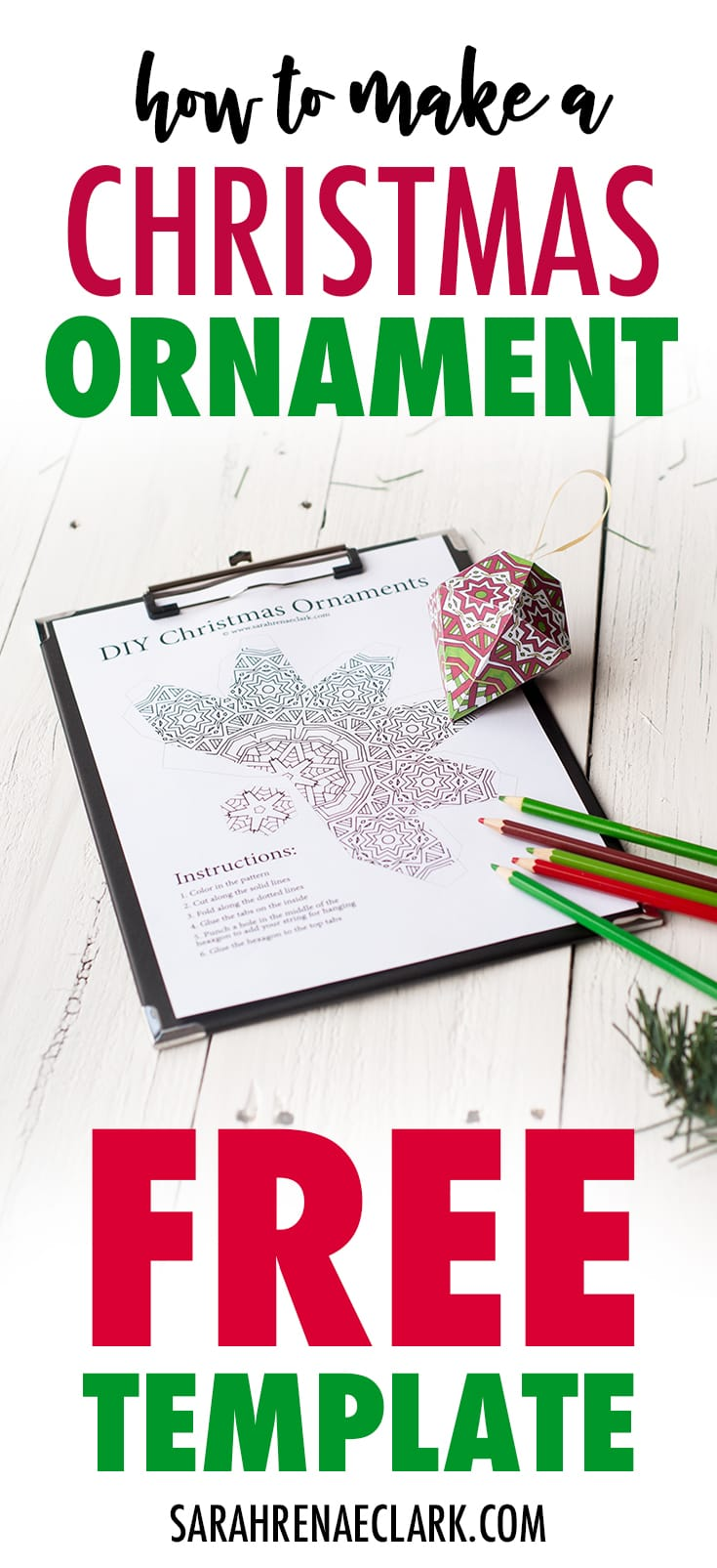 Make a paper ornament for your Christmas tree with this free printable template and tutorial! | Check it out at sarahrenaeclark.com #christmas #freeprintable