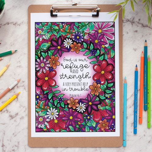 Words of Strength coloring book. Colored by Linda Franklin