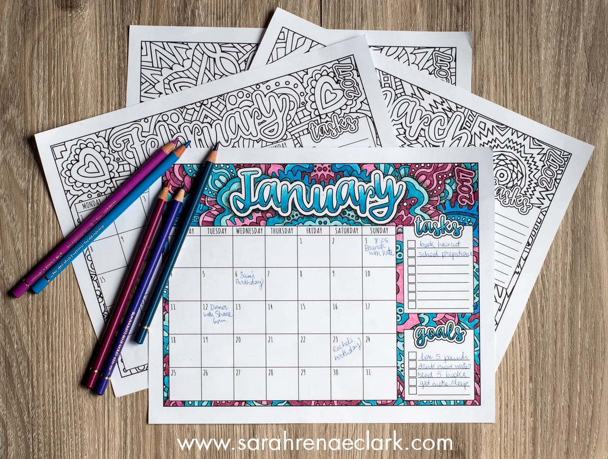 Printable 2017 Coloring Calendar from sarahrenaeclark.com