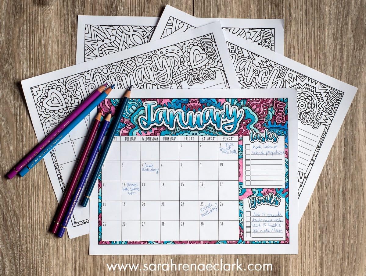 Printable 2017 Coloring Calendar from sarahrenaeclark.com