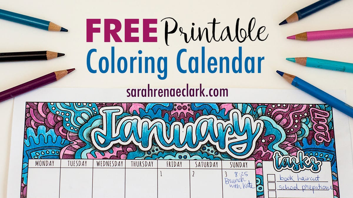 View Larger Image Free Printable Coloring Calendar With BONUS Tutorial On How To Create Shadows Colored Pencils