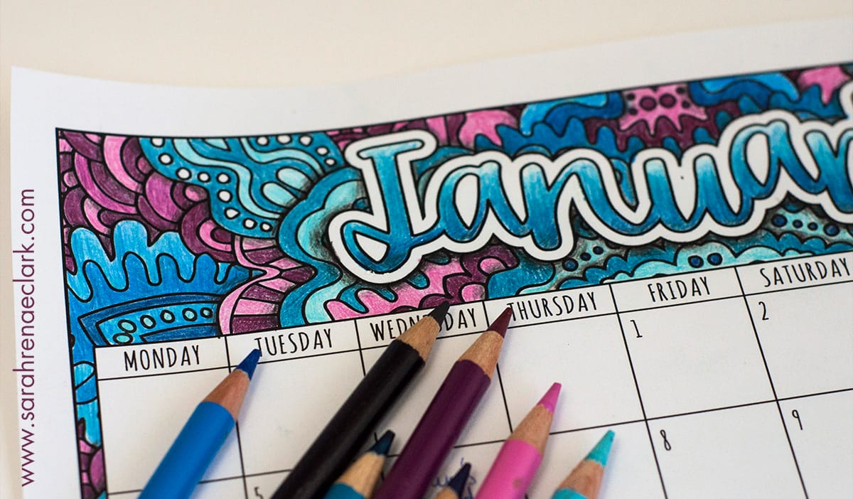 Free Printable Coloring Calendar with BONUS tutorial on how to create shadows with colored pencils