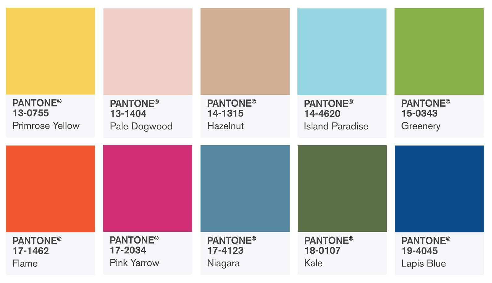 Pantone Color Swatches Fashion Color Report Fall 2017