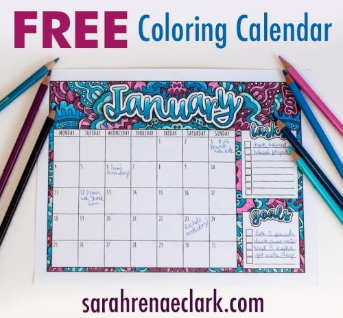 Free Printable Coloring Calendar with BONUS tutorial on how to create shadows with colored pencils | For more free printables and coloring pages, visit www.sarahrenaeclark.com