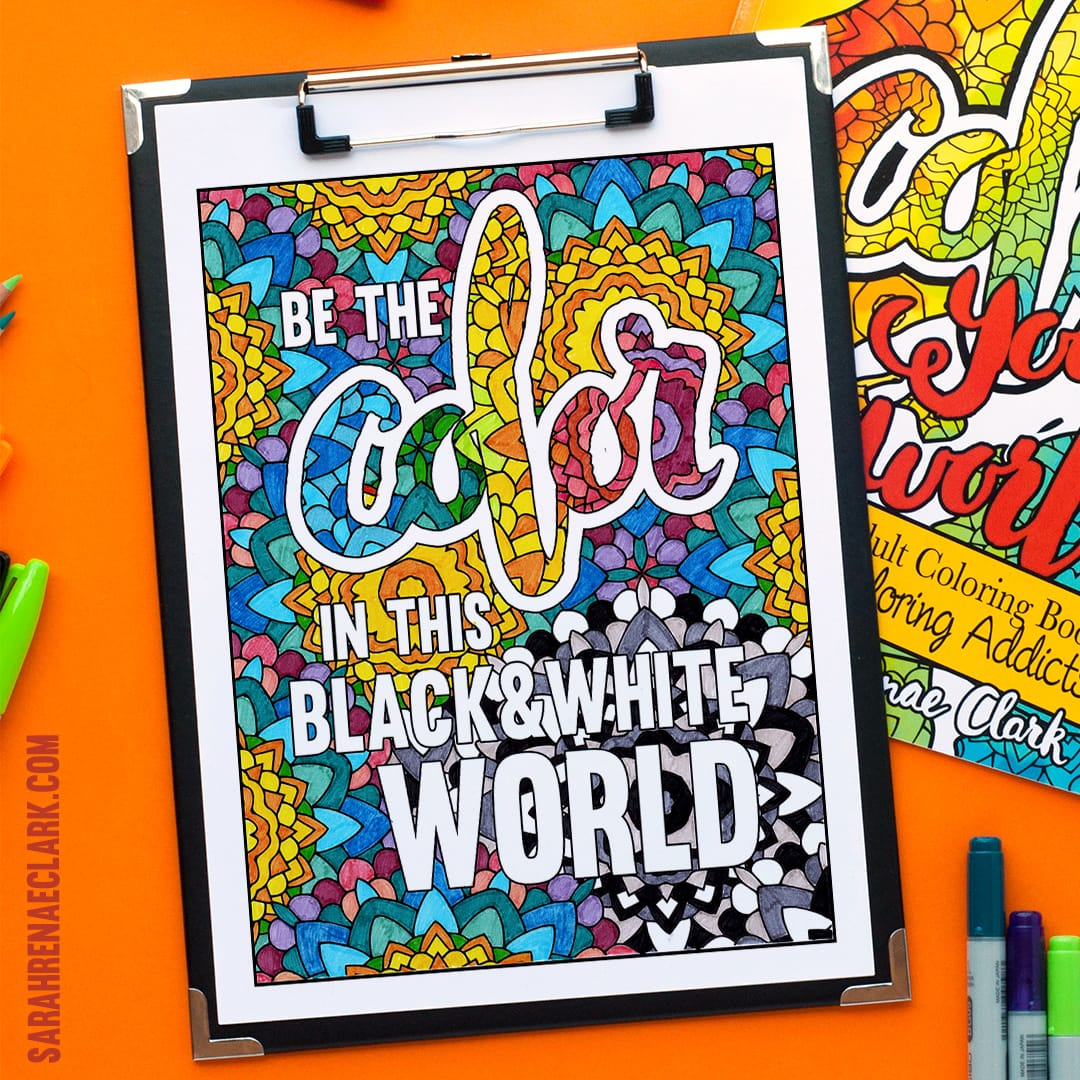 "Amazing coloring page for adults | Sample adult coloring page from ""Color Your World"" by Sarah Renae Clark. Get it at https://sarahrenaeclark.com"